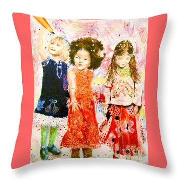 Throw Pillow featuring the drawing La Fete by Beth Saffer