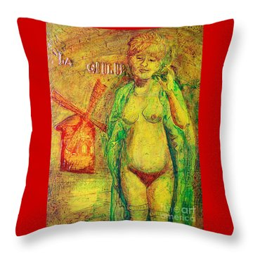 Throw Pillow featuring the painting La Goulue by D Renee Wilson
