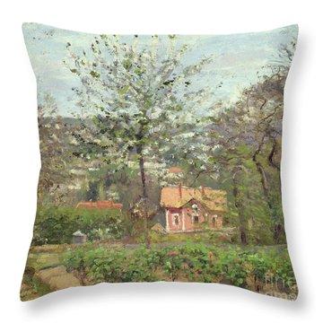La Maison Rose Throw Pillow by Camille Pissarro