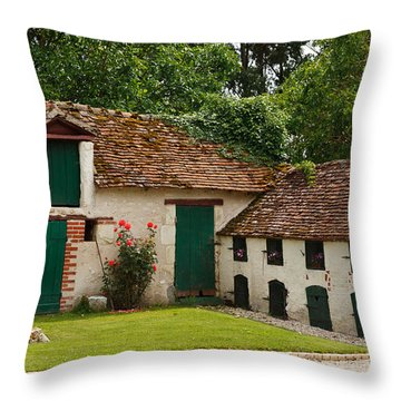 La Pillebourdiere Old Farm Outbuildings In The Loire Valley Throw Pillow by Louise Heusinkveld