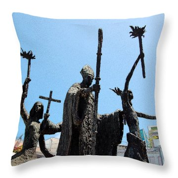 La Rogativa Statue Old San Juan Puerto Rico Ink Outlines Throw Pillow by Shawn O'Brien