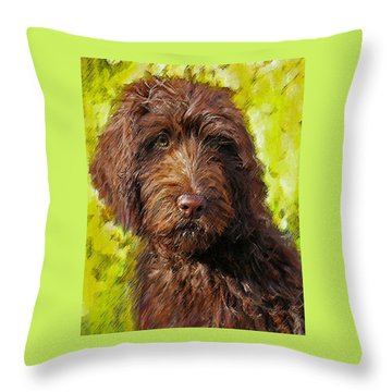 Labradoodle Throw Pillow by Jane Schnetlage