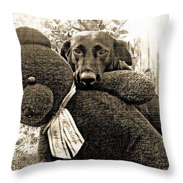 Labrador And Holiday Teddy Throw Pillow