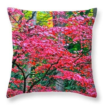 Lacy Red Maple Trees Throw Pillow