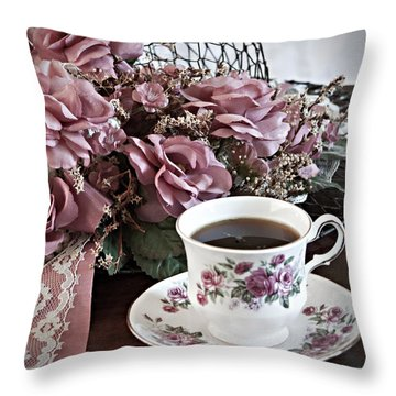 Ladies Tea Time Throw Pillow by Sherry Hallemeier