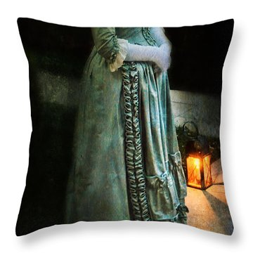 Lady By Lantern Light Throw Pillow by Jill Battaglia