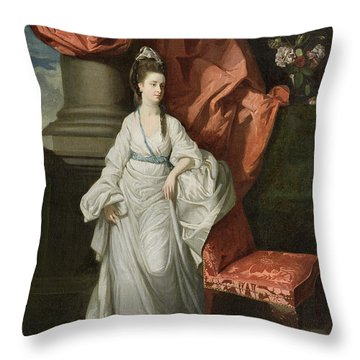 Lady Grant - Wife Of Sir James Grant Throw Pillow by Johann Zoffany