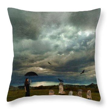 Lady In Graveyard Throw Pillow by Jill Battaglia