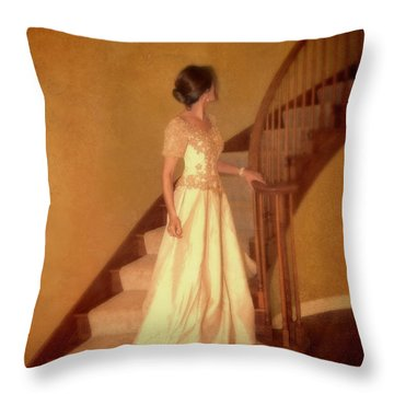 Lady In Lace Gown On Staircase Throw Pillow by Jill Battaglia
