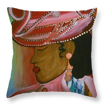 Lady In Pink Throw Pillow by Kelly Turner