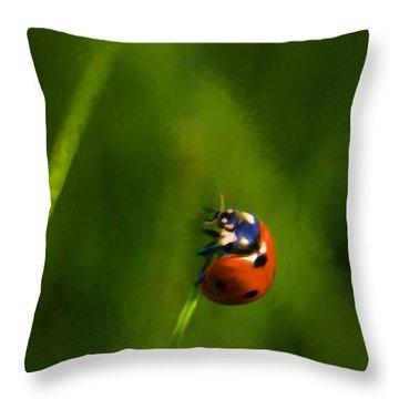 Throw Pillow featuring the painting Lady In Red by Steven Richardson