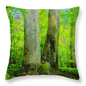 Lady In The Woods Throw Pillow by David Lee Thompson