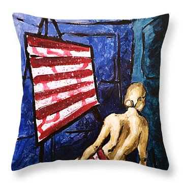 Throw Pillow featuring the painting Lady Liberty Female Flag Figure Painting In Red Green Blue And Yellow by M Zimmerman