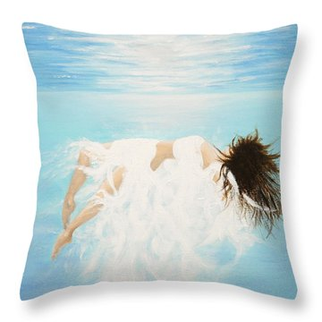 Throw Pillow featuring the painting Lady Of The Water by Kume Bryant