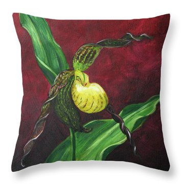 Throw Pillow featuring the painting Lady Slipper by Dwayne Glapion