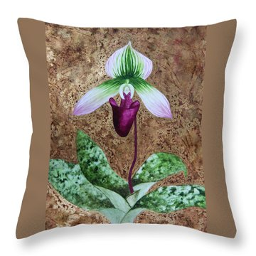 Throw Pillow featuring the mixed media Lady Slipper Orchid With Gold Leaf Background by Kerri Ligatich