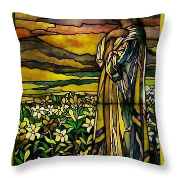 Lady Stained Glass Window Throw Pillow by Thomas Woolworth