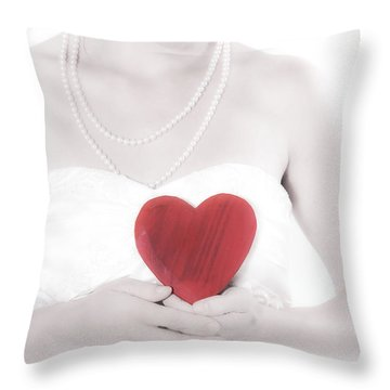 Lady With A Heart Throw Pillow by Joana Kruse
