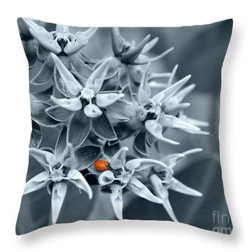 Ladybug Flower Throw Pillow