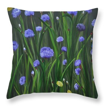 Throw Pillow featuring the painting Ladybug Lunch by Carol Sweetwood