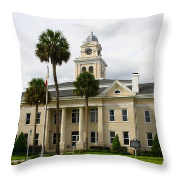 Lafayette County Courthouse Throw Pillow by Barbara Bowen