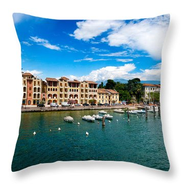 Lago Di Garda In Italy In Early Spring  Throw Pillow by Ulrich Schade