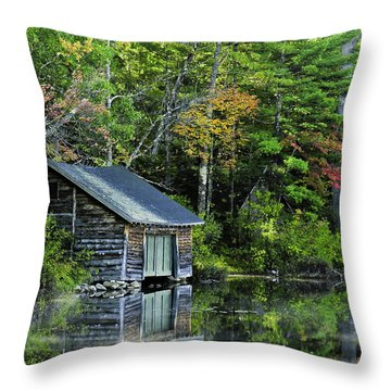 Throw Pillow featuring the photograph Lake Chocoura Boathouse by Betty Denise