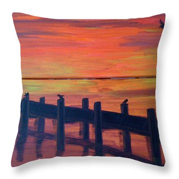 Lake Illawarra At Sunset Throw Pillow by Judi Goodwin