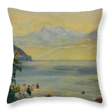Lake Leman With The Dents Du Midi In The Distance Throw Pillow by John William Inchbold