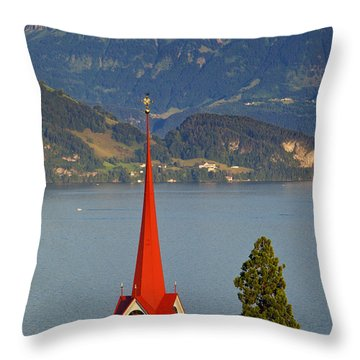 Lake Lucerne Throw Pillow by Brian Jannsen