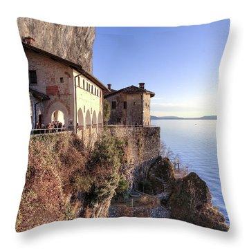 Lake Maggiore Santa Caterina Del Sasso Throw Pillow