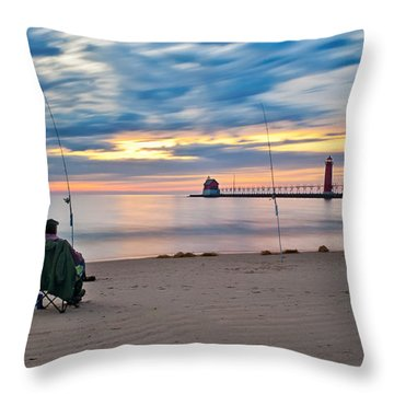 Lake Michigan Fishing Throw Pillow