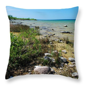 Throw Pillow featuring the photograph Lake Michigan Shoreline On A Sunny Afternoon by Janice Adomeit
