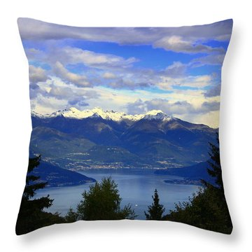 Lake Of Como View Throw Pillow