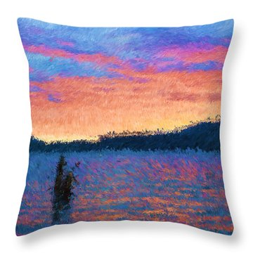 Lake Quinault Sunset - Impressionism Throw Pillow by Heidi Smith