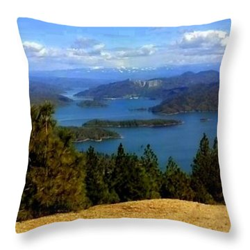Lake Shasta Throw Pillow by Garnett  Jaeger