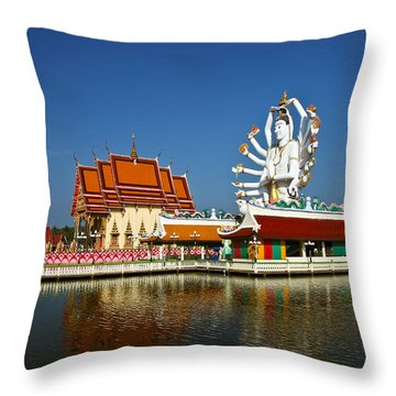 Lake Temple Throw Pillow by Adrian Evans