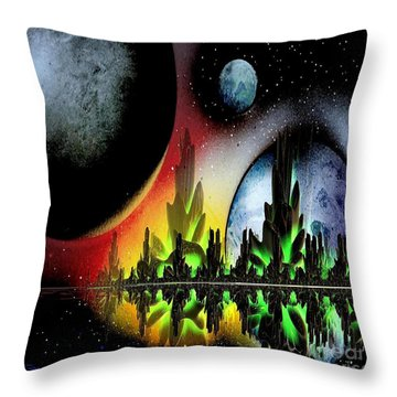 Throw Pillow featuring the mixed media Lake Venus by Greg Moores