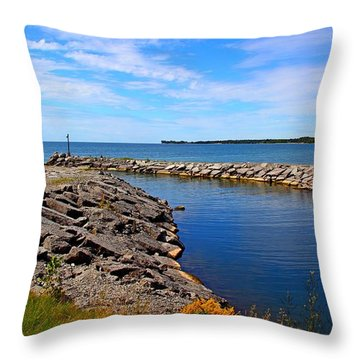 Throw Pillow featuring the photograph Lakeside Bend by Davandra Cribbie