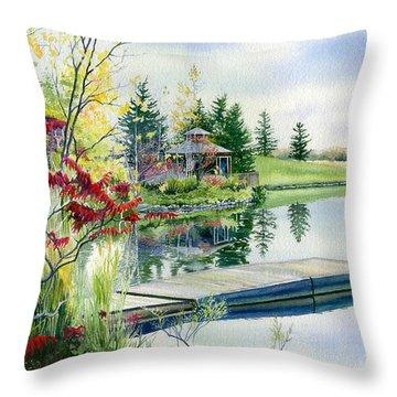 Lakeside Gazebo Throw Pillow by Hanne Lore Koehler