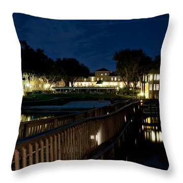 Lakeside Inn At Night Throw Pillow by Christopher Holmes
