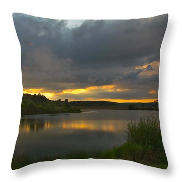 Throw Pillow featuring the photograph Lakeside Sunset by Cindy Haggerty