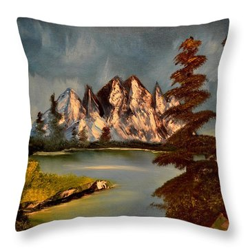 Throw Pillow featuring the painting Lakeview by Maria Urso