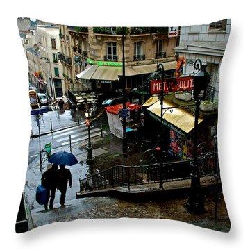 Lamarck-caulaincourt Metro Stop Throw Pillow