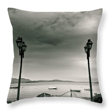 Lamps On Lake Throw Pillow by Silvia Ganora