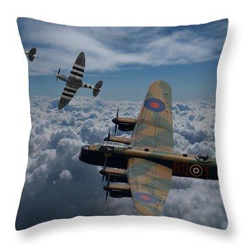 Lancaster Bomber And Spitfires Throw Pillow by Ken Brannen