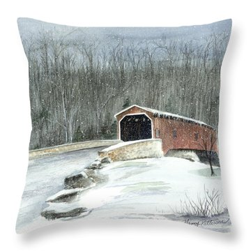 Throw Pillow featuring the painting Lancaster County Covered Bridge In The Snow  by Nancy Patterson