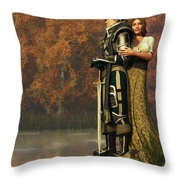 Lancelot And Guinevere Throw Pillow by Daniel Eskridge