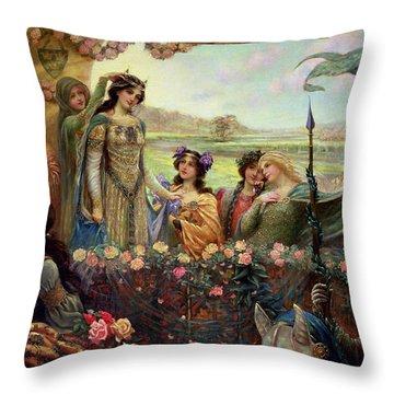 Lancelot And Guinevere Throw Pillow by Herbert James Draper