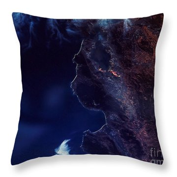 Land And Water From Satellite Throw Pillow by Stocktrek Images